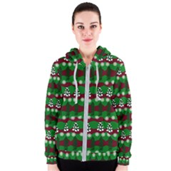 Snow Trees and Stripes Women s Zipper Hoodie