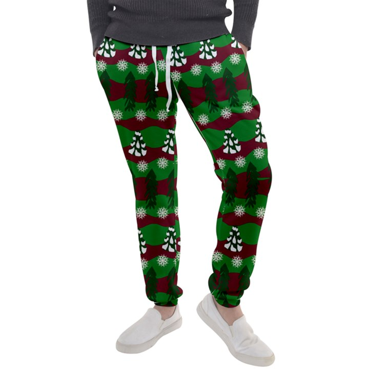 Snow Trees and Stripes Men s Jogger Sweatpants