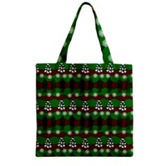Snow Trees and Stripes Zipper Grocery Tote Bag