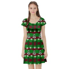 Snow Trees and Stripes Short Sleeve Skater Dress