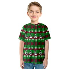 Snow Trees and Stripes Kids  Sport Mesh Tee