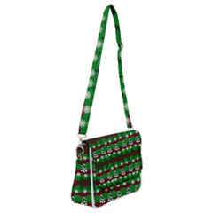 Snow Trees and Stripes Shoulder Bag with Back Zipper