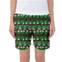 Snow Trees and Stripes Women s Basketball Shorts View1
