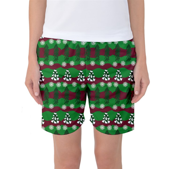 Snow Trees and Stripes Women s Basketball Shorts