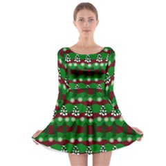 Snow Trees and Stripes Long Sleeve Skater Dress