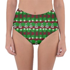 Snow Trees and Stripes Reversible High-Waist Bikini Bottoms