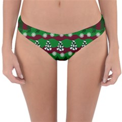Snow Trees and Stripes Reversible Hipster Bikini Bottoms