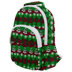 Snow Trees and Stripes Rounded Multi Pocket Backpack