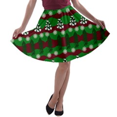 Snow Trees and Stripes A-line Skater Skirt
