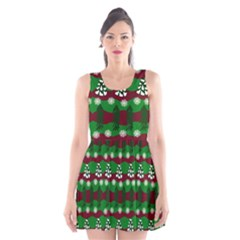 Snow Trees And Stripes Scoop Neck Skater Dress