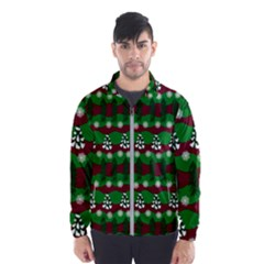 Snow Trees and Stripes Men s Windbreaker