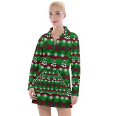 Snow Trees and Stripes Women s Long Sleeve Casual Dress