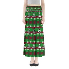 Snow Trees and Stripes Full Length Maxi Skirt
