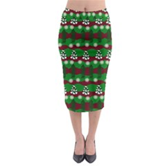 Snow Trees and Stripes Midi Pencil Skirt