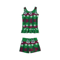 Snow Trees And Stripes Kids  Boyleg Swimsuit