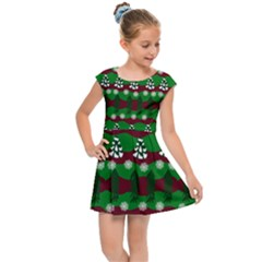 Snow Trees and Stripes Kids  Cap Sleeve Dress
