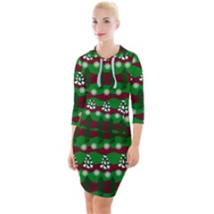 Snow Trees and Stripes Quarter Sleeve Hood Bodycon Dress