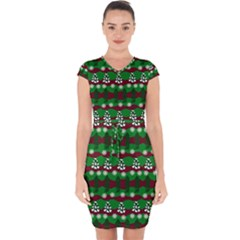 Snow Trees and Stripes Capsleeve Drawstring Dress
