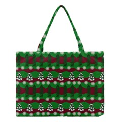 Snow Trees and Stripes Medium Tote Bag