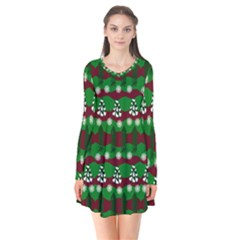 Snow Trees and Stripes Long Sleeve V-neck Flare Dress