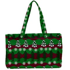 Snow Trees and Stripes Canvas Work Bag