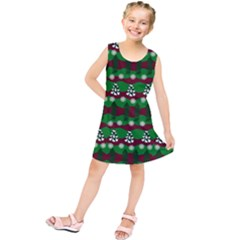 Snow Trees and Stripes Kids  Tunic Dress