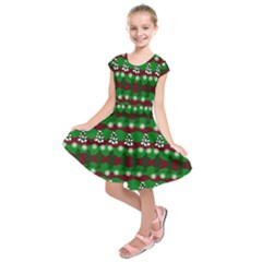 Snow Trees and Stripes Kids  Short Sleeve Dress