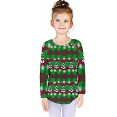 Snow Trees and Stripes Kids  Long Sleeve Tee