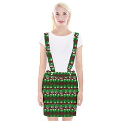 Snow Trees and Stripes Braces Suspender Skirt