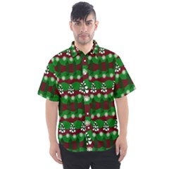 Snow Trees and Stripes Men s Short Sleeve Shirt