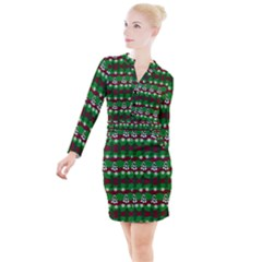 Snow Trees and Stripes Button Long Sleeve Dress
