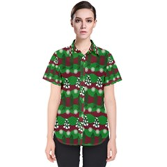 Snow Trees and Stripes Women s Short Sleeve Shirt