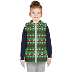 Snow Trees And Stripes Kids  Hooded Puffer Vest