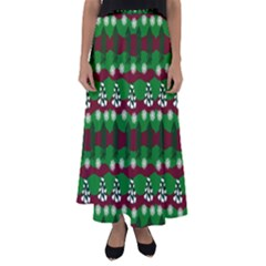 Snow Trees and Stripes Flared Maxi Skirt