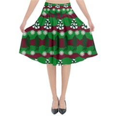 Snow Trees and Stripes Flared Midi Skirt