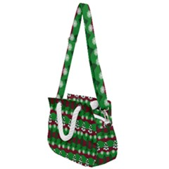 Snow Trees and Stripes Rope Handles Shoulder Strap Bag