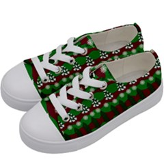 Snow Trees and Stripes Kids  Low Top Canvas Sneakers