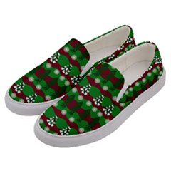 Snow Trees and Stripes Men s Canvas Slip Ons