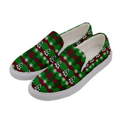Snow Trees and Stripes Women s Canvas Slip Ons