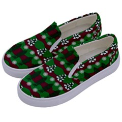 Snow Trees and Stripes Kids  Canvas Slip Ons