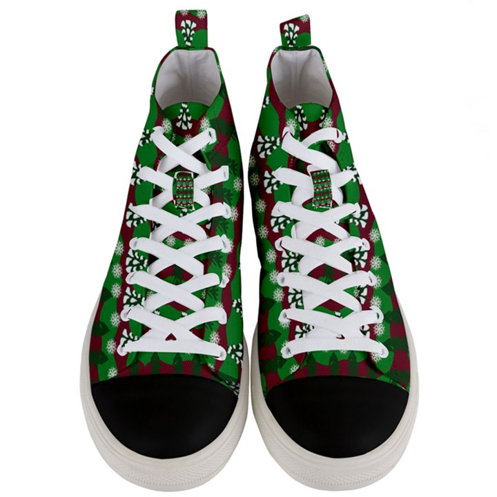 Snow Trees and Stripes Men s Mid-Top Canvas Sneakers
