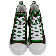 Snow Trees And Stripes Women s Mid-top Canvas Sneakers