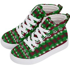 Snow Trees and Stripes Kids  Hi-Top Skate Sneakers