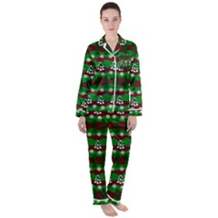 Snow Trees And Stripes Satin Long Sleeve Pyjamas Set