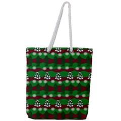 Snow Trees and Stripes Full Print Rope Handle Tote (Large)