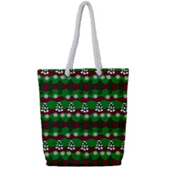 Snow Trees and Stripes Full Print Rope Handle Tote (Small)