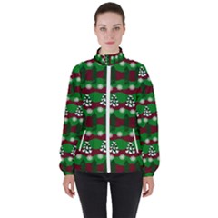 Snow Trees and Stripes Women s High Neck Windbreaker