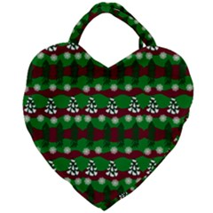 Snow Trees and Stripes Giant Heart Shaped Tote