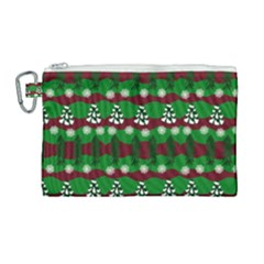 Snow Trees and Stripes Canvas Cosmetic Bag (Large)