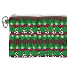 Snow Trees and Stripes Canvas Cosmetic Bag (XL)